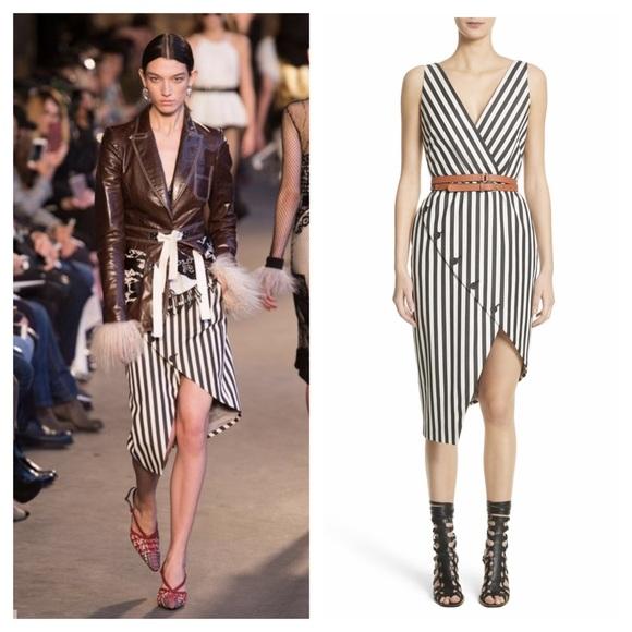 Altuzarra Asymmetrical Button Hem Stripe Dress